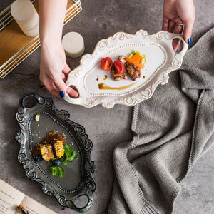 Ceramic Plate Western White Dish Tableware Embossed Double Ear Tray With Kiln Glaze Dinnerware Brown Tray Fish Plate