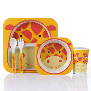 5pcs/set Animal Zoo Baby Plate Bow Cup Forks Dinnerware Feeding Set 100% Bamboo fiber Baby Children Tableware Set Gifts