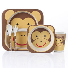 Load image into Gallery viewer, 5pcs/set Animal Zoo Baby Plate Bow Cup Forks Dinnerware Feeding Set 100% Bamboo fiber Baby Children Tableware Set Gifts