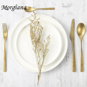 Morgiana Industrial style Gold Cutlery Set Tableware Stainless Steel Dinner Dining Kitchen Dinnerware Set Fork Spoon Knife