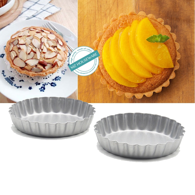 8-pack, Non-Stick Carbon Steel Mini Tart Pans, round flower edge mini cake pan,4-Inch Diameter