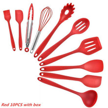 Load image into Gallery viewer, 10PCS/12PCS Wooden Handle Silica Gel Utensils Kitchenware Non-Stick Pan Shovel Spoon Spatula Kitchen Cooking Tool Set
