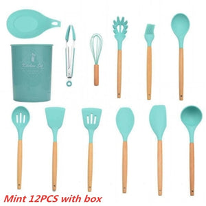 10PCS/12PCS Wooden Handle Silica Gel Utensils Kitchenware Non-Stick Pan Shovel Spoon Spatula Kitchen Cooking Tool Set