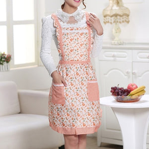 Waterproof Cooking Apron Printing Princess Apron Dress Thicken Women Cotton Bib with Pockets Ladies Pinafore House Supplies
