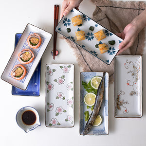 Japanese Sushi  Ceramic Dinner  Flower Fruit Dinnerware