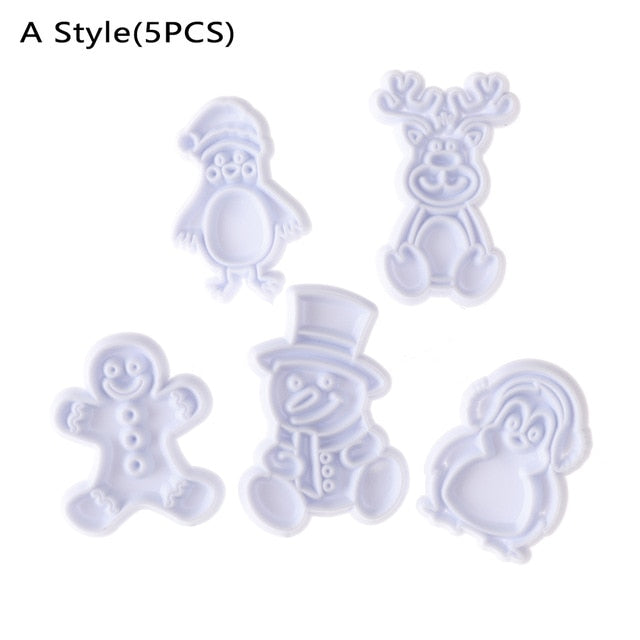 1/5/8PCS Food Grade Plastic White Cookies Cutter Baking Mould Christmas Biscuit Mold Pastry Cake Decor Accessory Fondant Tool