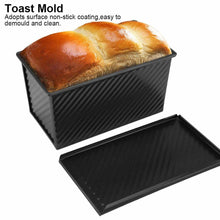 Load image into Gallery viewer, Carbon Steel Bread Cake Bake Mold Rectangle Toast Bread Loaf Pan Nonstick Desserts Maker Corrugated Box with Lid Bakeware Tools
