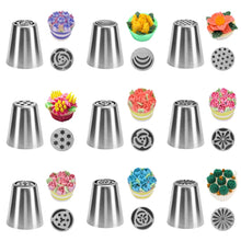 Load image into Gallery viewer, TTLIFE Russian Tulip Icing Piping Nozzles Stainless Steel Flower Cream Pastry Tips Nozzles Bag Cupcake Cake Decorating Tools