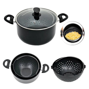 New 2-in-1 Cooking Pot With Swivel Strainer Not Sticky Practical Cooking Pot For Kitchen Drain Pasta Vegetables Cooking Pot