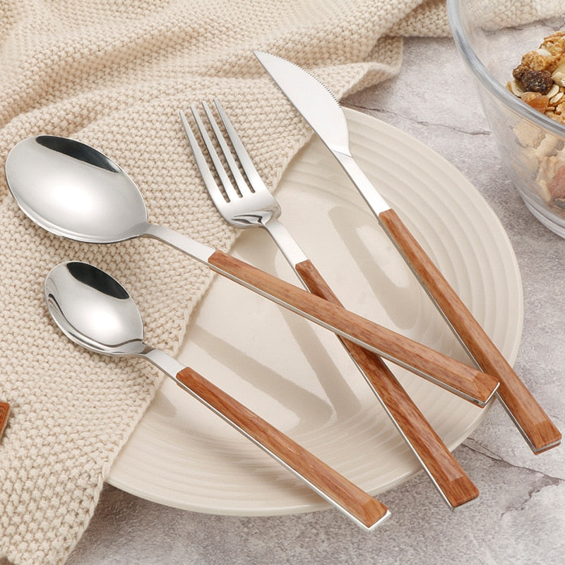 Stainless Steel Tableware Set Wood Handle Dinnerware Knife Fork Spoon Teaspoon Cutlery Set