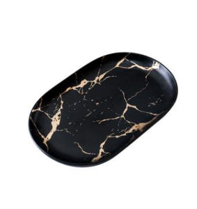 Creative Marble Stripe Rectangle Round Ceramic  Plate