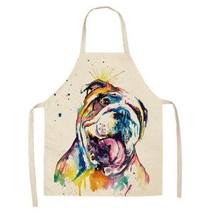 1 Pcs Cotton Linen BullDog Dog Print Kitchen Aprons Unisex Dinner Party Cooking Bib Funny Pinafore Cleaning Apron