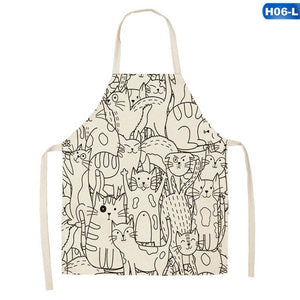 Funny Cartoon Cat Printed  Funny Cartoon Cat Printed Sleeveless Cotton Linen Aprons for Men Women Home Cleaning Tools