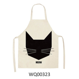 Cute cartoon cat print kitchen apron waterproof Apron Cotton Linen Easy to Clean home tools 12 styles to choose from