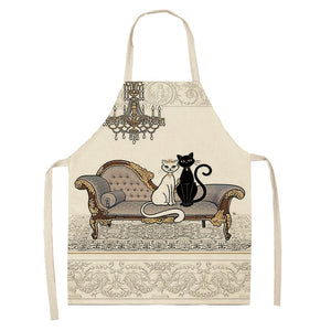 1Pcs Kitchen Apron Cute Cartoon Cat Printed Sleeveless Cotton Linen Aprons for Men Women Home Cleaning Tools 53*65cm WQ0029