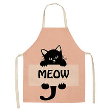 Load image into Gallery viewer, 1Pcs Kitchen Apron Cute Cartoon Cat Printed Sleeveless Cotton Linen Aprons for Men Women Home Cleaning Tools 53*65cm WQ0029