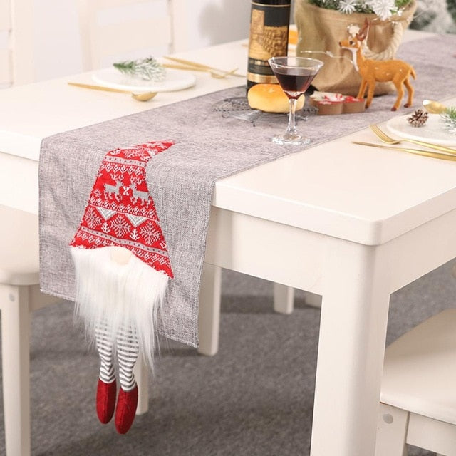 Christmas Table Flag Faceless Doll Rudolph Innovative Red Grey 3D Santa Claus Table Decoration Living Room Tableware Accessories