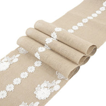 Load image into Gallery viewer, Romantic Embroidery Table Runner for Wedding Party Lace Flower Table Cover Flag Burlap Tablecloth Runners Home Coffee Decorative