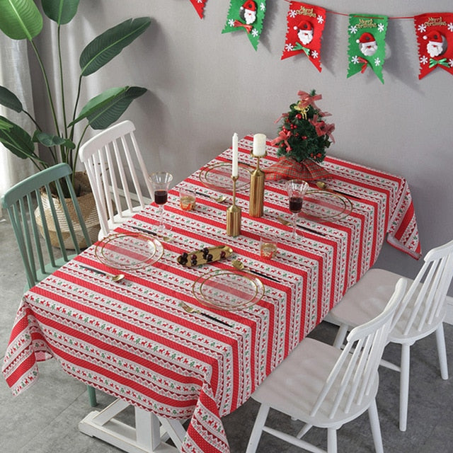Striped Christmas Deer Tablecloth Cotton And Linen Dustproof Table Cover Decoration New