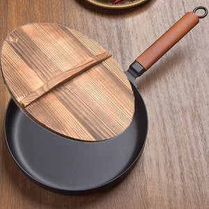 Cast Iron Pot Vintage Forged Chinese Wok Non-stick Frying Pan  Home 26CM Kitchen Wok Cooking Pot for Induction Cooker Gas Stove