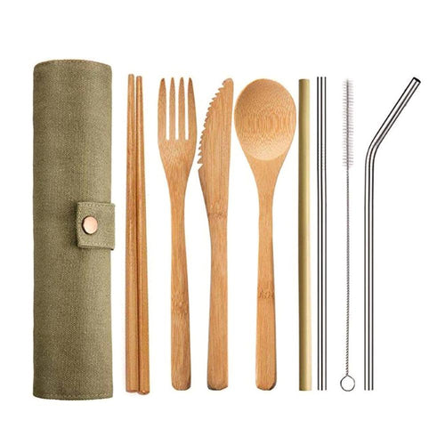 Japanese Wooden Cutlery Set Bamboo Cutlery Straw Cutlery Set With Cloth Bag Kitchen Cooking Tools