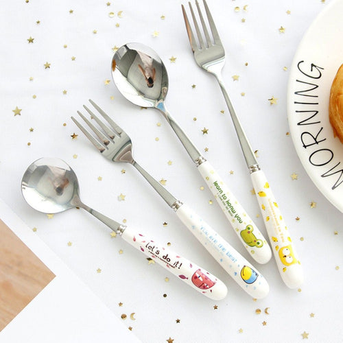 Stainless Steel Spoon Fork Cartoon Animal Printing Fruit Fork Party Cake Salad Vegetable Forks Children Dinnerware Cutlery