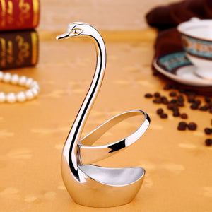 Creative Swan Fruit Fork Metal Base Holder Table Tableware for Coffee Fruit Forks Cutlery Decor Warm's House