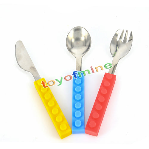 3pcs Creative Lego bricks silicone stainless steel Portable Travel Kids Adult Cutlery Fork Picnic Set Gift for CHild
