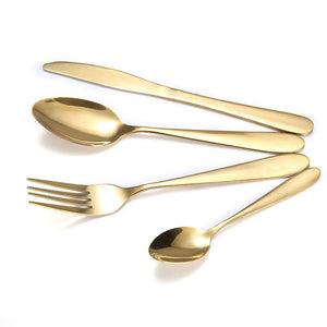 C-3304 Stainless Steel Gold Plated Western Cutlery Set Knife And Fork Spoon Four Piece Set Knife Spoon Spoon