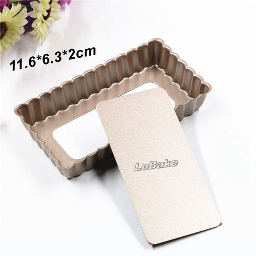 (2pcs/lot) Small size non-stick rectangle shape pie pan fluted wall tart cake pudding candy sweet mold for DIY baking tools