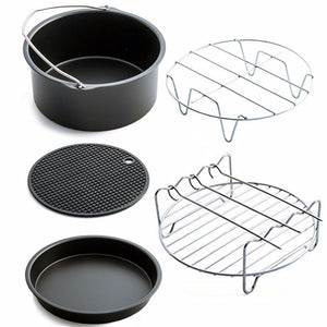 New Home Air Frying Pan Accessories Five Piece Fryer Baking Basket Pizza Plate Pot Mat Multi-functional Kitchen dropshipping