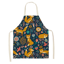 Load image into Gallery viewer, Kawaii Fox Printed Sleeveless Aprons Kitchen Women Cotton Linen Animal Pinafore Home Cooking Baking Waist Bib 53*65cm WQL0159