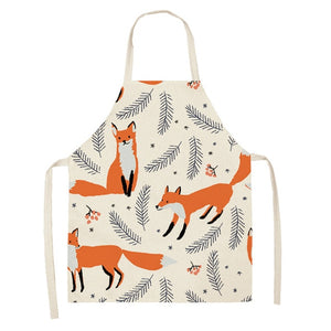 Kawaii Fox Printed Sleeveless Aprons Kitchen Women Cotton Linen Animal Pinafore Home Cooking Baking Waist Bib 53*65cm WQL0159