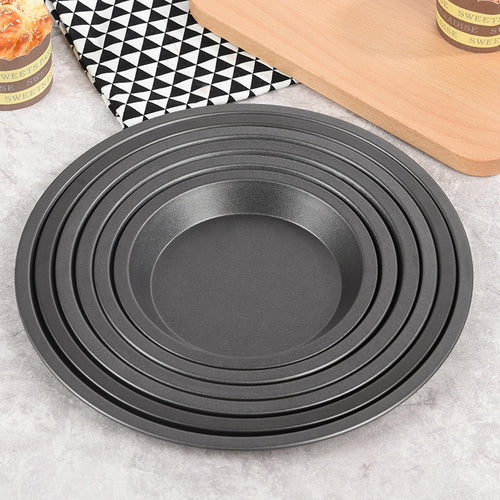 Round Deep Dish Pizza Pan Non-stick Pie Tray Baking Cake Tool  Carbon Steel black drop shipping
