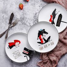 Load image into Gallery viewer, 4pcs Black edge  bone porcelain plate ceramic