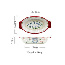 Load image into Gallery viewer, 1pc Red Cherry Baking Plate Ceramic Dinner Dishes European Style Dinnerware Baking Tray Ovenware Dinner Plate