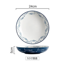 Load image into Gallery viewer, Handmade Ceramic Plate Dish Japanese Style  Porcelain Plate Breakfast Dinner Tableware Set