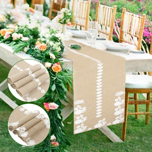 Romantic Embroidery Table Runner for Wedding Party Lace Flower Table Cover Flag Burlap Tablecloth Runners Home Coffee Decorative