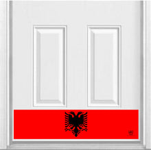 "Load image into Gallery viewer, Albanian Flag Magnetic Door Sign Kick Plate, 8"" x 34"" and 6"" x 30"" Size Options"