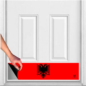 "Albanian Flag Magnetic Door Sign Kick Plate, 8"" x 34"" and 6"" x 30"" Size Options"