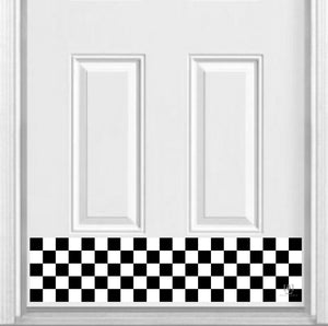 "Checkerboard Print Magnetic Kick Plate for Steel Door, 8"" x 34"" and 6"" x 30"" Size Options"
