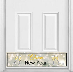 "Cheers to the New Year! Magnetic Kick Plate for Steel Door, 8"" x 34"" and 6"" x 30"" Size Options"