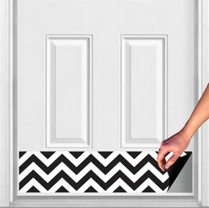 "Chevron Print Magnetic Door Kick Plate, 8"" x 34"" and 6"" x 30"" Size Options"