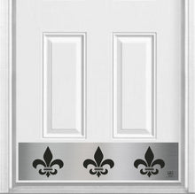 "Load image into Gallery viewer, Fleur De Lis Magnetic Kick Plate for Steel Door, 8"" x 34"" and 6"" x 30"" Size Options"