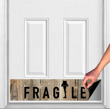 "Load image into Gallery viewer, FRAGILE Christmas Story Magnetic Door Sign Kick Plate, 8"" x 34"" and 6"" x 30"" Size Options"