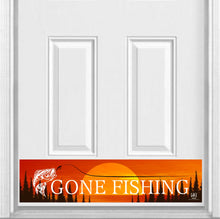 "Load image into Gallery viewer, Gone Fishing Magnetic Kick Plate for Steel Door, 8"" x 34"" and 6"" x 30"" Size Options"