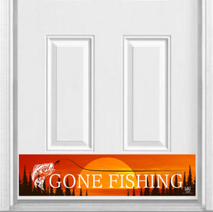 "Gone Fishing Magnetic Kick Plate for Steel Door, 8"" x 34"" and 6"" x 30"" Size Options"