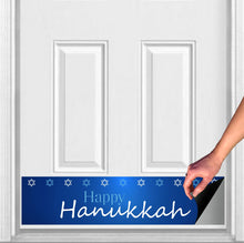 "Load image into Gallery viewer, Happy Hanukkah Magnetic Door Kick Plate Sign, 8"" x 34"" and 6"" x 30"" Size Options"