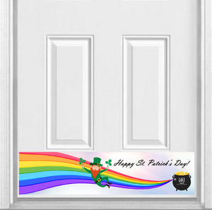 "Happy St. Patrick's Day Magnetic Kick Plate for Steel Door, 8"" x 34"" and 6"" x 30"" Size Options"