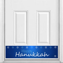 "Load image into Gallery viewer, Happy Hanukkah Magnetic Kick Plate for Steel Door, 8"" x 34"" and 6"" x 30"" Size Options"